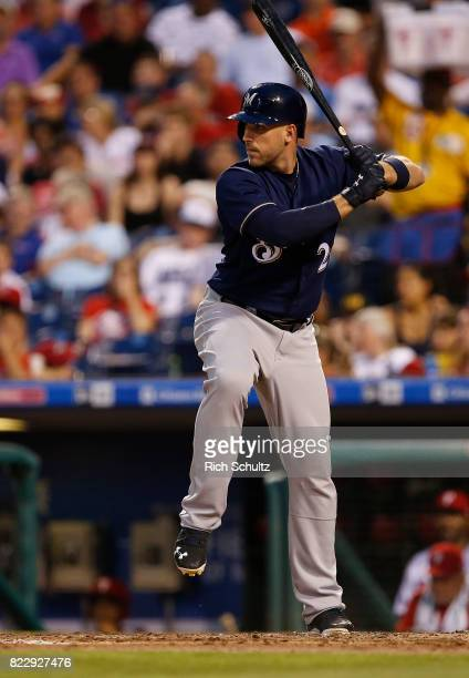 Travis Shaw of the Milwaukee Brewers in action against the Philadelphia Phillies during a game at Citizens Bank Park on July 21 2017 in Philadelphia...