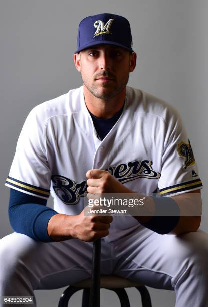 Travis Shaw of the Milwaukee Brewers poses for a portrait during a MLB photo day at Maryvale Baseball Park on February 22 2017 in Maryvale Arizona