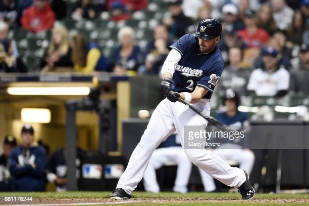 Travis Shaw of the Milwaukee Brewers swings at a pitch during the first inning of a game against the Boston Red Sox at Miller Park on May 9 2017 in...