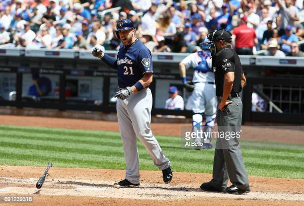 Travis Shaw of the Milwaukee Brewers throws his bat after striking out to end the third inning against the New York Mets during their game at Citi...
