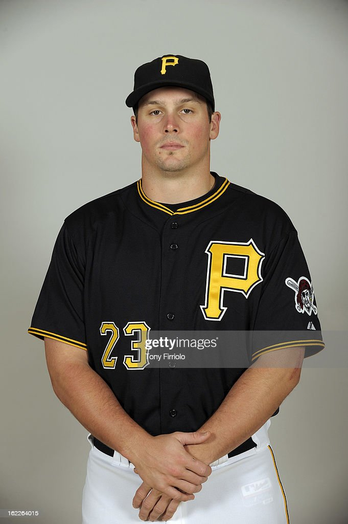 <a gi-track='captionPersonalityLinkClicked' href=/galleries/search?phrase=Travis+Snider&family=editorial&specificpeople=4959427 ng-click='$event.stopPropagation()'>Travis Snider</a> #23 of the Pittsburgh Pirates poses during Photo Day on February 17, 2013 at McKechnie Field in Bradenton, Florida.