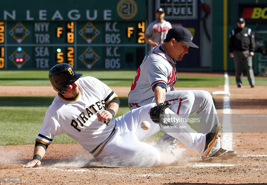<a gi-track='captionPersonalityLinkClicked' href=/galleries/search?phrase=Travis+Snider&family=editorial&specificpeople=4959427 ng-click='$event.stopPropagation()'>Travis Snider</a> #23 of the Pittsburgh Pirates scores on a wild pitch in the seventh inning by Luis Avilan #43 of the Atlanta Braves (not pictured) during the game on April 21, 2013 at PNC Park in Pittsburgh, Pennsylvania. The Pirates defeated the Braves 4-2.