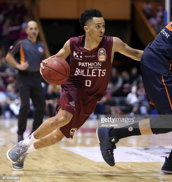 Travis Trice of Brisbane drives to the basket during the round six NBL match between the Brisbane Bullets and the Cairns Taipans at Brisbane...