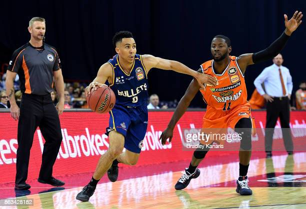 Travis Trice of the Bullets takes on the defence during the round three NBL match between the Brisbane Bullets and the Cairns Taipans at the Brisbane...