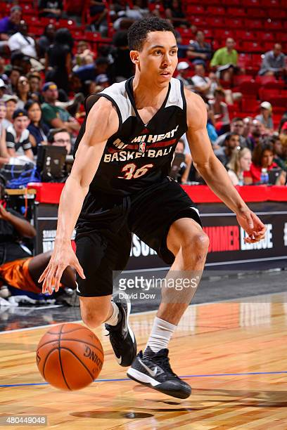Travis Trice of the Miami Heat handles the ball against the Utah Jazz on July 11 2015 at the Cox Pavilion in Las Vegas Nevada NOTE TO USER User...