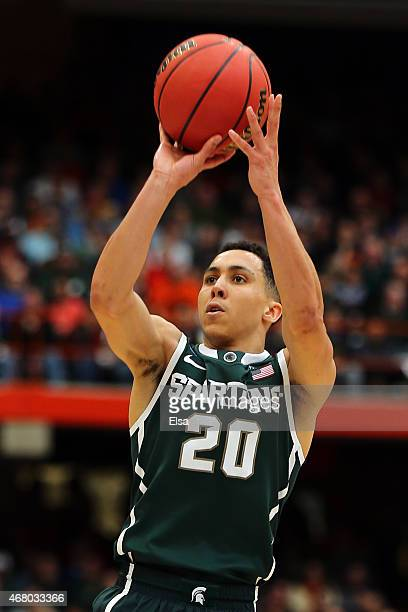 Travis Trice of the Michigan State Spartans shoots the ball against the Louisville Cardinals during the East Regional Final of the 2015 NCAA Men's...