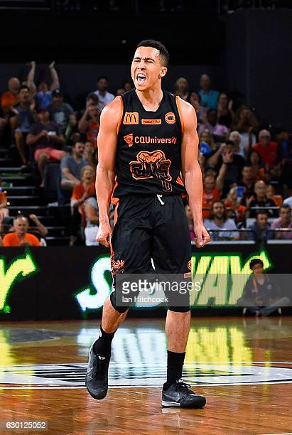 Travis Trice of the Taipans celebrates after scoring a three point shot during the round 11 NBL match between Cairns and Illawarra on December 17...