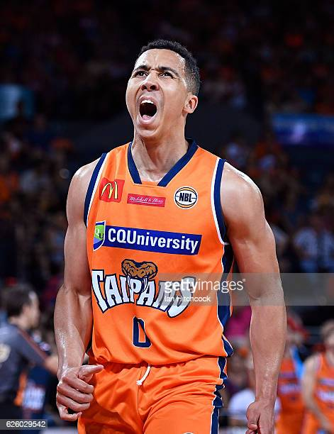 Travis Trice of the Taipans celebrates afters scoring a basket during the round eight NBL match between the Cairns Taipans and the New Zealand...