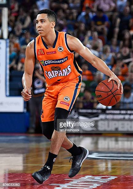 Travis Trice of the Taipans dribbles the ball during the round eight NBL match between the Cairns Taipans and the New Zealand Breakers at Cairns...
