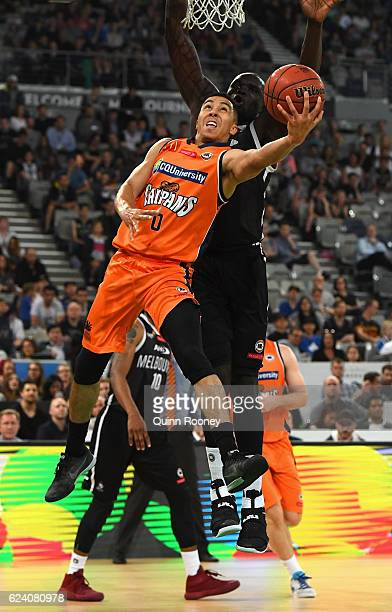 Travis Trice of the Taipans shoots during the round seven NBL match between Melbourne United and the Cairns Taipans at Hisense Arena on November 18...