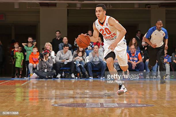 Travis Trice of the Westchester Knicks dribbles the ball against the Delaware 87ers at the Westchester County Center on December 12 2015 in White...