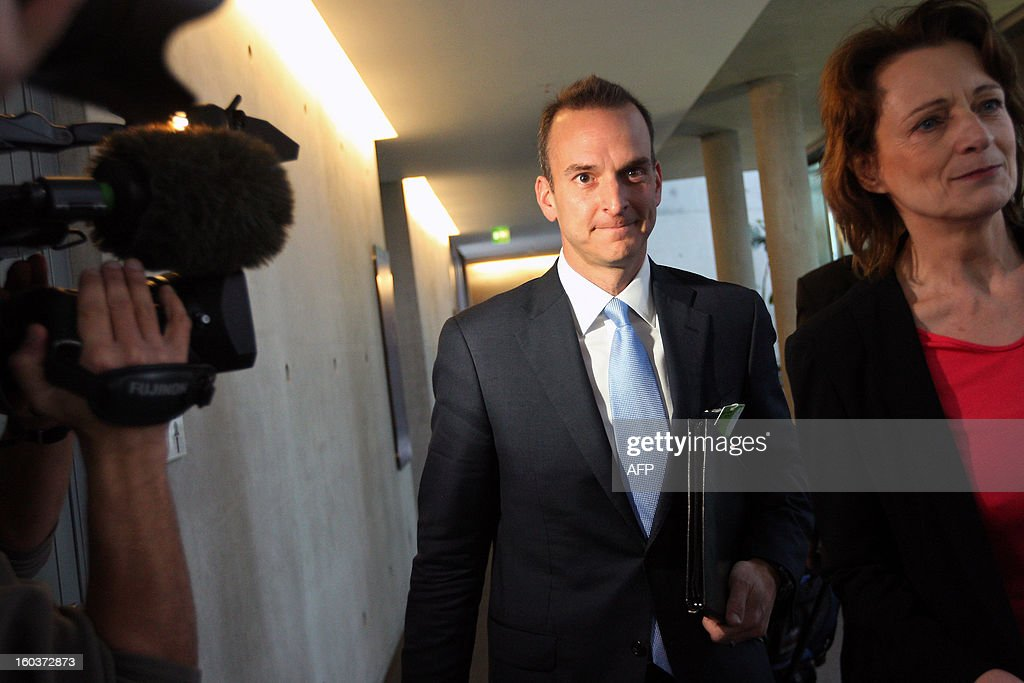 Travis Tygart, chief executive officer of the US Anti-Doping Agency (USADA), arrives to speak at the Bundestag (lower house of parliament) in Berlin on January 30, 2013. Tygart was expected to address the sports committee of Germany's Bundestag to give an insight into how USADA brought down cycling star Lance Armstrong. AFP PHOTO / ADAM BERRY