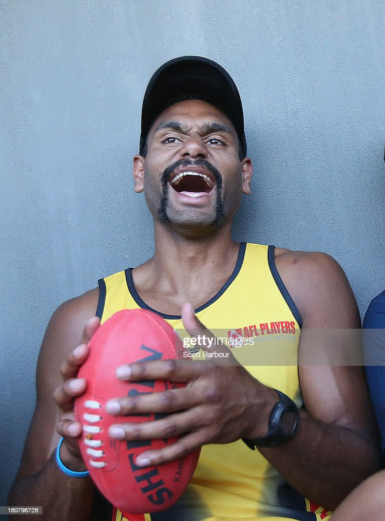 Travis Varcoe of the All Stars laughs during a press conference ahead of the AFL exhibition match between the Richmond Tigers and the Indigenous All Stars at Traeger Park on February 6, 2013 in Alice Springs, Australia.