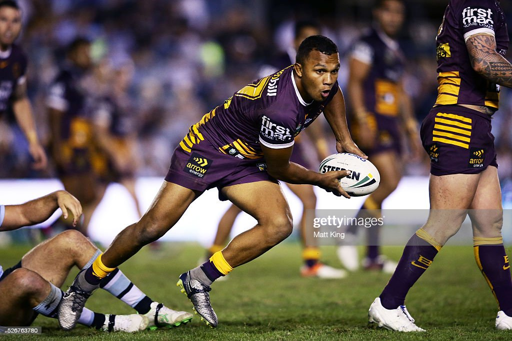 Travis Waddell of the Broncos runs with the ball during the round nine NRL match between the Cronulla Sharks and the Brisbane Broncos at Southern Cross Group Stadium on May 1, 2016 in Sydney, Australia.