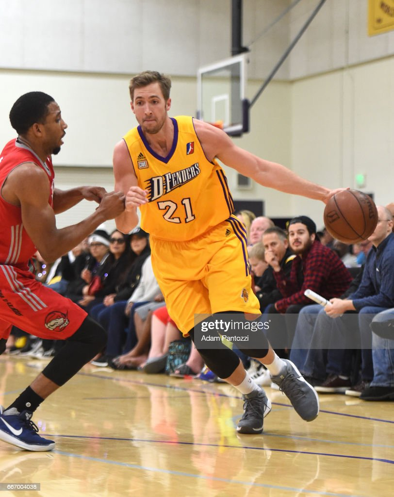 Travis Wear #21 of the Los Angeles D-Fenders handles the ball against the Rio Grande Valley Vipers during the first round of an NBA D-League playoff game at Toyota Sports Center on April 08, 2017 in El Segundo, California.