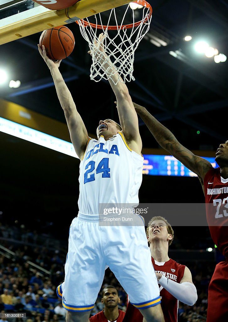 Travis Wear #24 of the UCLA Bruins shoots against the Washington State Cougars at Pauley Pavilion on February 9, 2013 in Los Angeles, California. UCLA won 76-62.