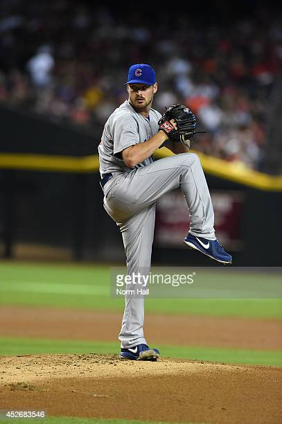 Travis Wood of the Chicago Cubs delivers a pitch against the Arizona Diamondbacks at Chase Field on July 19 2014 in Phoenix Arizona