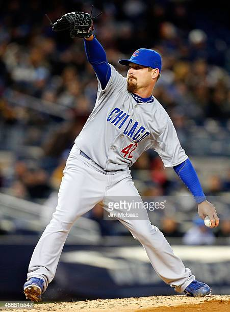 Travis Wood of the Chicago Cubs in action against the New York Yankees during game two of a doubleheader at Yankee Stadium on April 16 2014 in the...