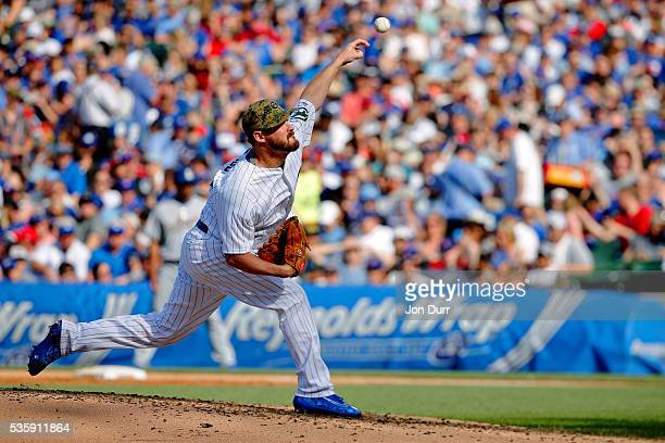 Travis Wood of the Chicago Cubs pitches against the Los Angeles Dodgers during the third inning at Wrigley Field on May 30 2016 in Chicago Illinois