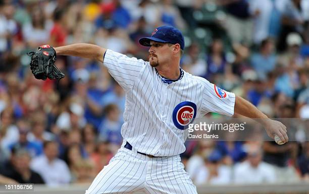 Travis Wood of the Chicago Cubs pitches against the San Francisco Giants in the first inning on September 02 2012 at Wrigley Field in Chicago Illinois