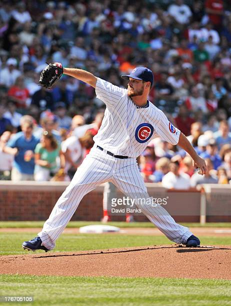 Travis Wood of the Chicago Cubs pitches against the St Louis Cardinals during the first inning on August 17 2013 at Wrigley Field in Chicago Illinois
