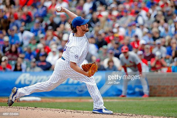 Travis Wood of the Chicago Cubs pitches against the St Louis Cardinals during the second inning at Wrigley Field on September 19 2015 in Chicago...