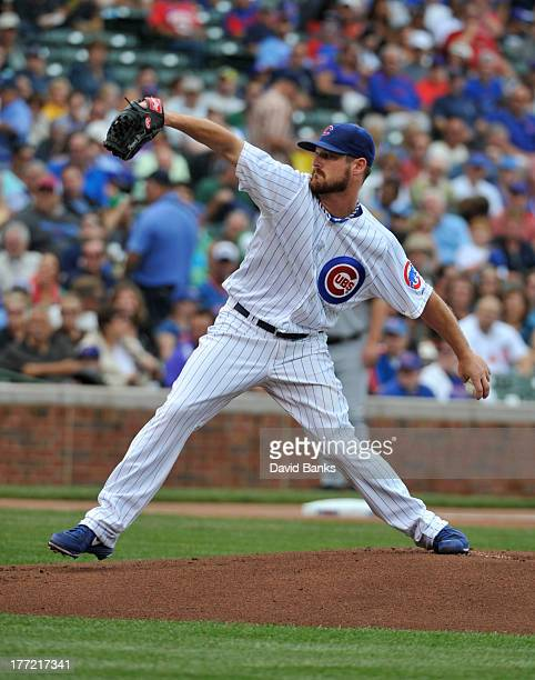 Travis Wood of the Chicago Cubs pitches against the Washington Nationals during the first inning on August 22 2013 at Wrigley Field in Chicago...