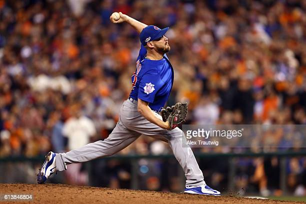 Travis Wood of the Chicago Cubs pitches during Game 3 of NLDS against the San Francisco Giants at ATT Park on Monday October 10 2016 in San Francisco...