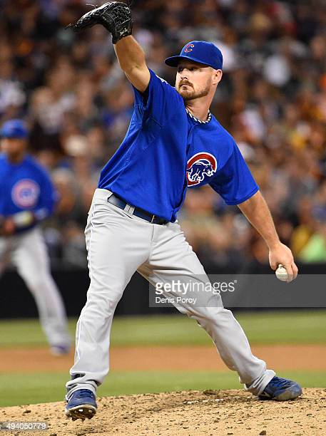 Travis Wood of the Chicago Cubs pitches during the eighth inning of a baseball game against the San Diego Padres at Petco Park May 24 2014 in San...