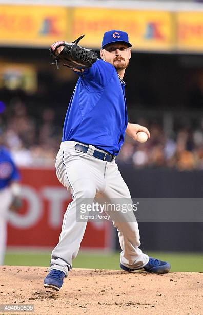 Travis Wood of the Chicago Cubs pitches during the first inning of a baseball game against the San Diego Padres at Petco Park May 24 2014 in San...