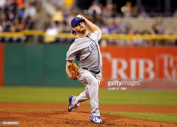 Travis Wood of the Chicago Cubs pitches during the game against the Pittsburgh Pirates at PNC Park on August 3 2015 in Pittsburgh Pennsylvania