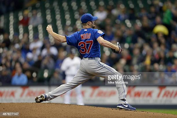 Travis Wood of the Chicago Cubs pitches during the game against the Milwaukee Brewers at Miller Park on April 26 2014 in Milwaukee Wisconsin