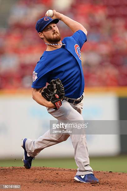 Travis Wood of the Chicago Cubs pitches in the first inning against the Cincinnati Reds at Great American Ball Park on September 9 2013 in Cincinnati...