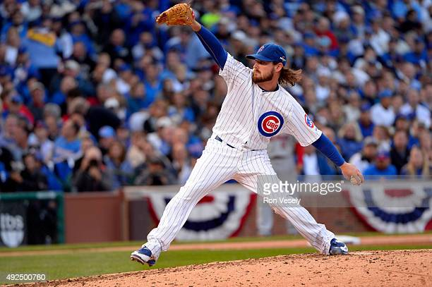 Travis Wood of the Chicago Cubs pitches in the top of the fifth inning of Game 4 of the NLDS against the St Louis Cardinals at Wrigley Field on...