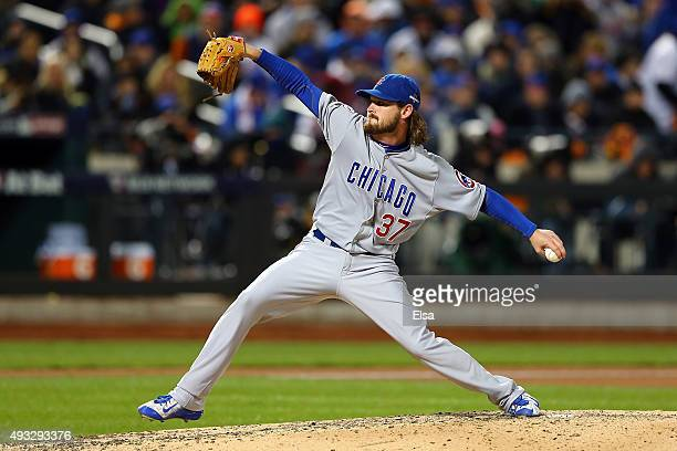 Travis Wood of the Chicago Cubs throws a pitch in the sixth inning against the New York Mets during game two of the 2015 MLB National League...