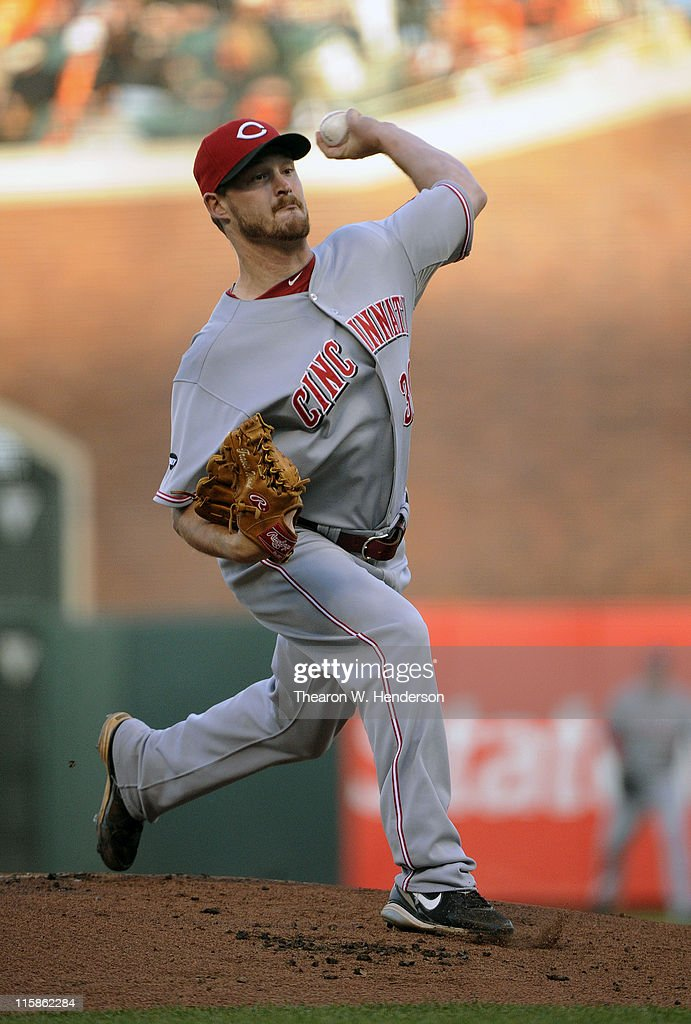 <a gi-track='captionPersonalityLinkClicked' href=/galleries/search?phrase=Travis+Wood&family=editorial&specificpeople=805314 ng-click='$event.stopPropagation()'>Travis Wood</a> #30 of the Cincinnati Reds pitches against the San Francisco Giants in the first inning during a MLB baseball game June 10, 2011 at AT&T Park in San Francisco, California.
