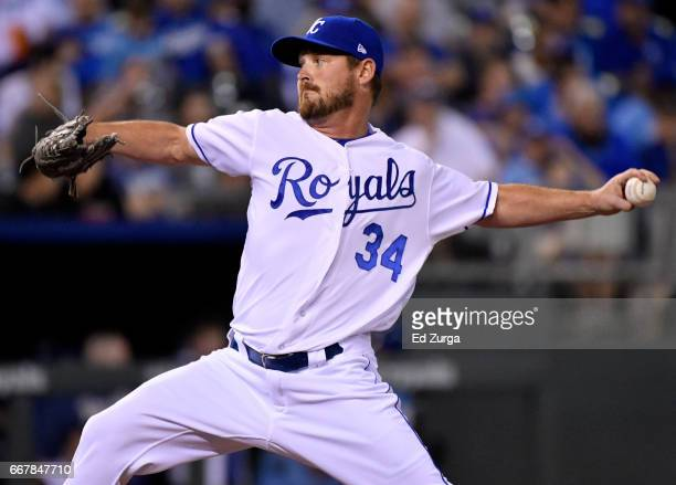 Travis Wood of the Kansas City Royals pitches in the fifth inning against the Oakland Athletics at Kauffman Stadium on April 12 2017 in Kansas City...