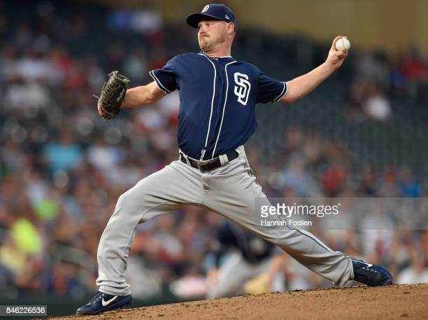 Travis Wood of the San Diego Padres delivers a pitch against the Minnesota Twins during the first inning of the game on September 12 2017 at Target...