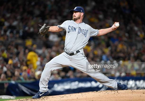 Travis Wood of the San Diego Padres delivers a pitch in the second inning during the game against the Pittsburgh Pirates at PNC Park on August 4 2017...