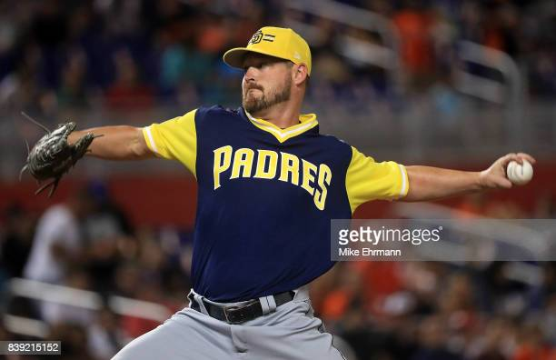 Travis Wood of the San Diego Padres pitches during a game against the Miami Marlins at Marlins Park on August 25 2017 in Miami Florida