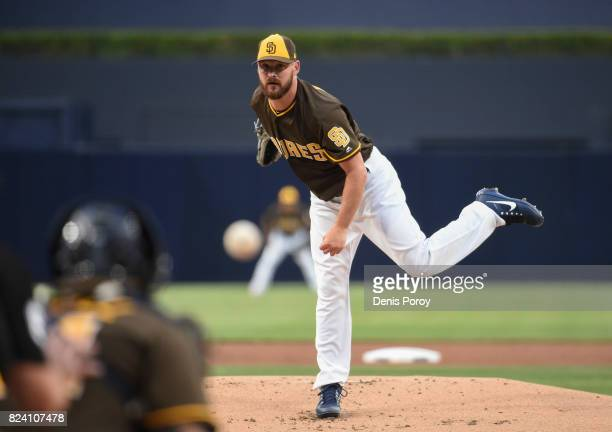 Travis Wood of the San Diego Padres pitches during the first inning of a baseball game against the Pittsburgh Pirates at PETCO Park on July 28 2017...