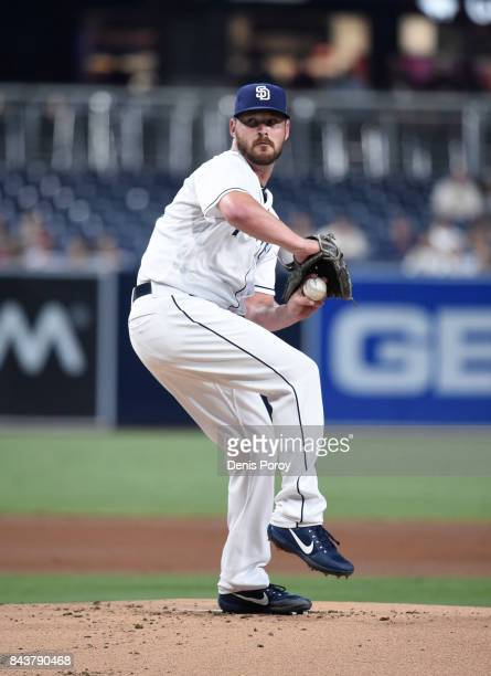 Travis Wood of the San Diego Padres pitches during the first inning of a baseball game against the St Louis Cardinals at PETCO Park on September 5...