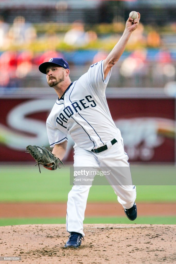 Travis Wood #37 of the San Diego Padres pitches the ball during the 1st inning against the Washington Nationals at PETCO Park on August 19, 2017 in San Diego, California.