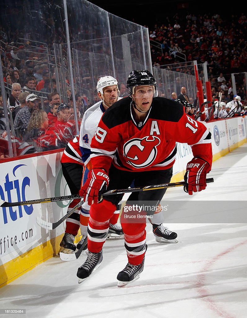 <a gi-track='captionPersonalityLinkClicked' href=/galleries/search?phrase=Travis+Zajac&family=editorial&specificpeople=864182 ng-click='$event.stopPropagation()'>Travis Zajac</a> 319 of the New Jersey Devils skates against the New York Islanders at the Prudential Center on September 19, 2013 in Newark, New Jersey.