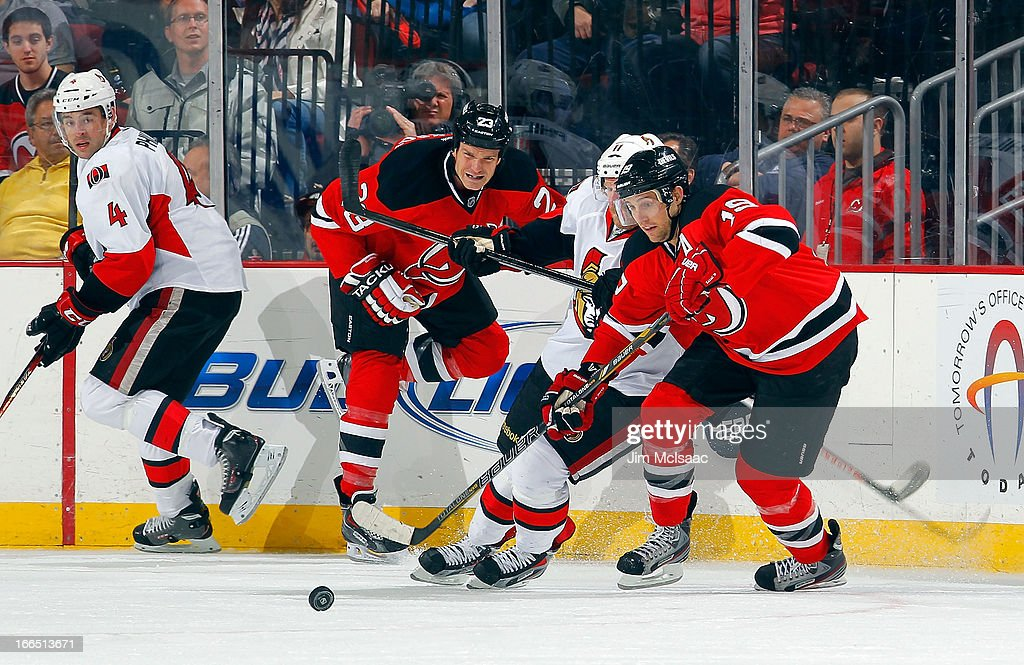 <a gi-track='captionPersonalityLinkClicked' href=/galleries/search?phrase=Travis+Zajac&family=editorial&specificpeople=864182 ng-click='$event.stopPropagation()'>Travis Zajac</a> #19 of the New Jersey Devils in action against the Ottawa Senators at the Prudential Center on April 12, 2013 in Newark, New Jersey. The Senators defeated the Devils 2-0.