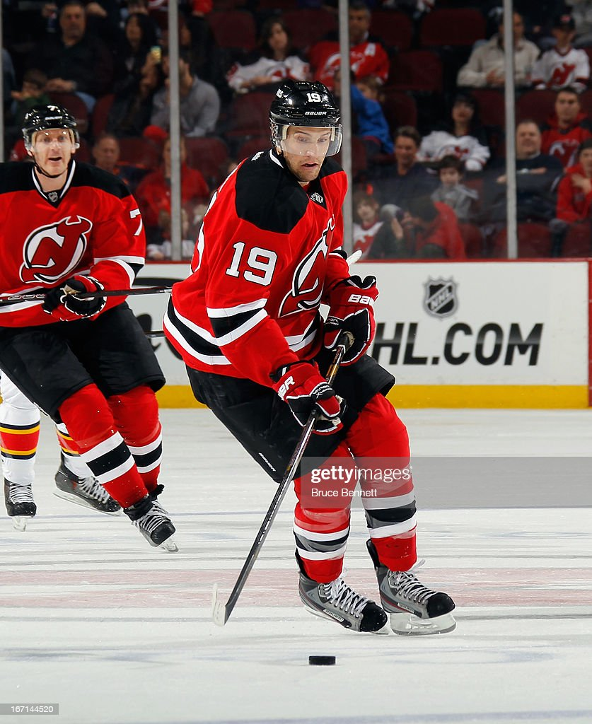 <a gi-track='captionPersonalityLinkClicked' href=/galleries/search?phrase=Travis+Zajac&family=editorial&specificpeople=864182 ng-click='$event.stopPropagation()'>Travis Zajac</a> #19 of the New Jersey Devils skates against the Florida Panthers at the Prudential Center on April 20, 2013 in Newark, New Jersey. The Devils defeated the Panthers 6-2,