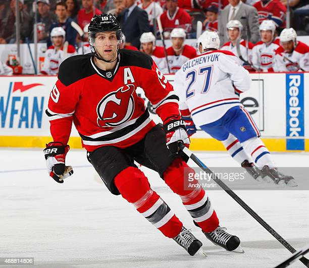 Travis Zajac of the New Jersey Devils skates against the Montreal Canadiens during the game at the Prudential Center on April 3 2015 in Newark New...