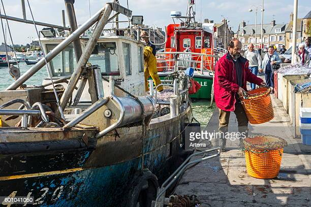 Trawler fisherman bringing catch in plastic baskets on land in the Barfleur harbour Lower Normandy France