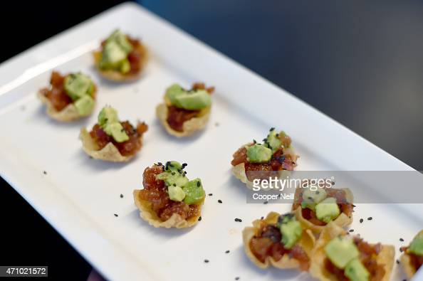 Tray of appetizers passed during Children First An Evening with UNICEF an event celebrating American Airlines' charitable contributions on April 24...
