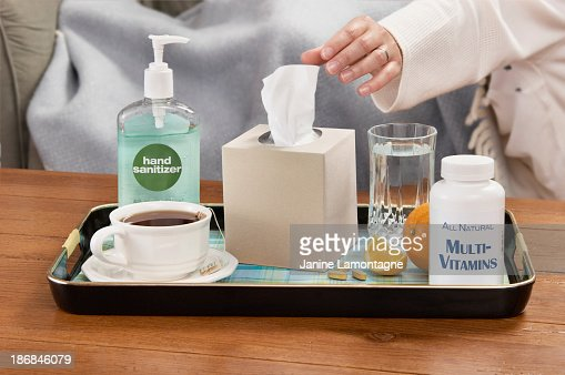 A tray of assorted cold and flu season necessities